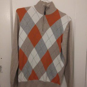 Old Navy Argyle Beige Pullover Sweater Tan Orange